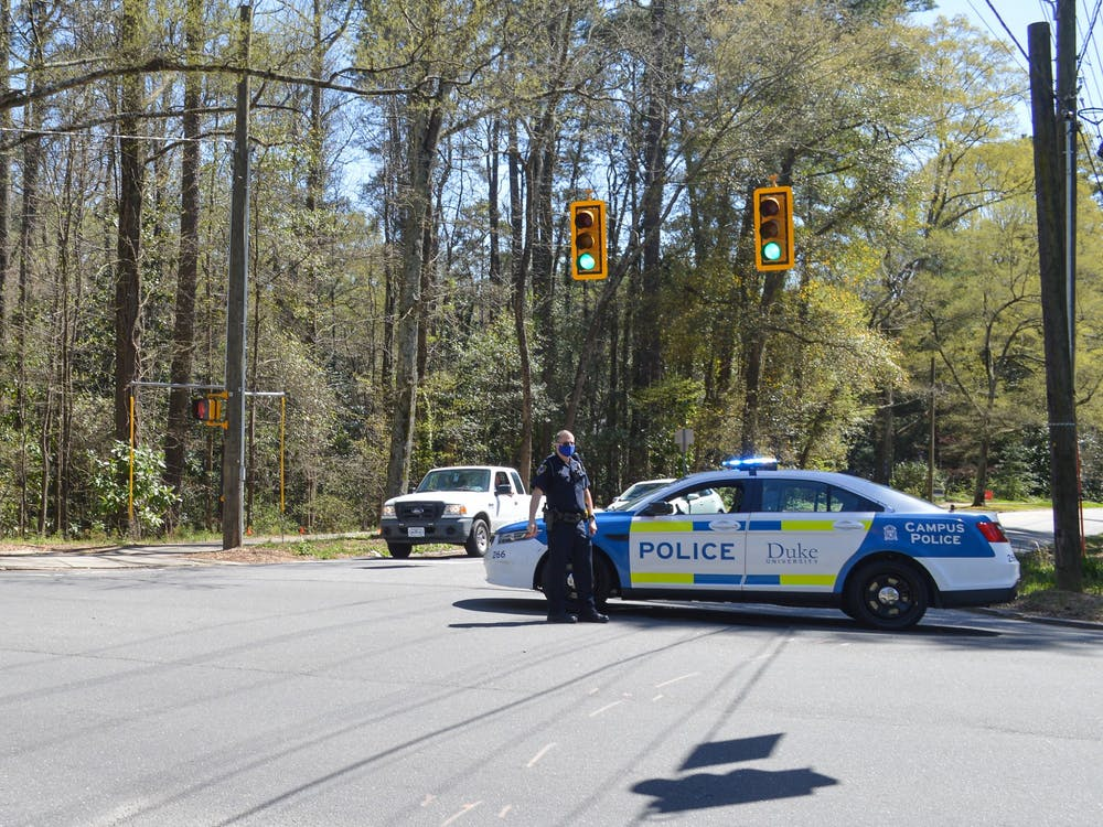 <p>DUPD officers were stationed along Duke University Road Tuesday afternoon during the search for a suspect.&nbsp;</p>