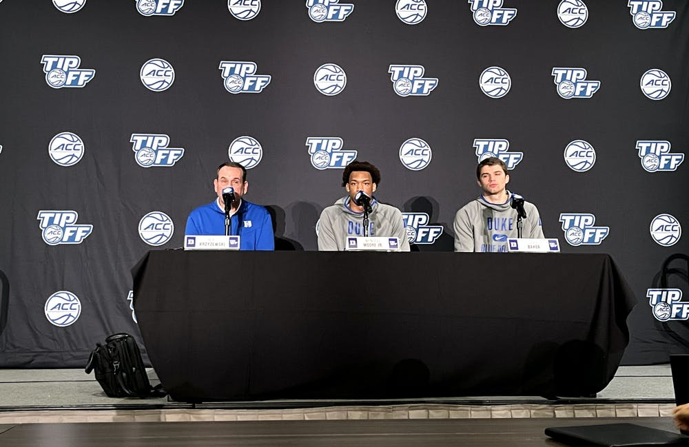 Head coach Mike Krzyzewski, junior Wendell Moore Jr., and senior Joey Baker fielded questions ahead of Countdown to Craziness.