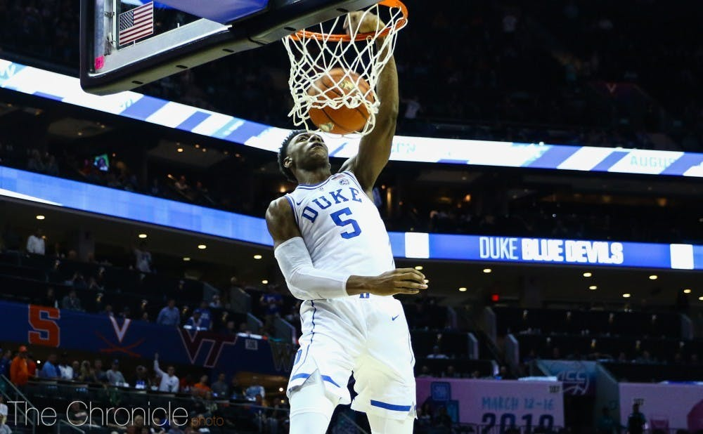 <p>R.J. Barrett posted 19 points, 15 rebounds and five assists Monday against the Bulls.</p>