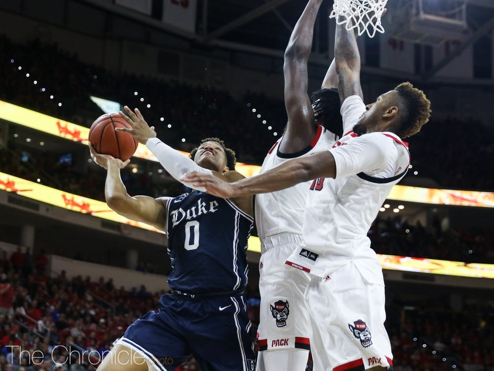 Duke's men's basketball team lost to N.C. State at PNC Arena on Feb. 19.