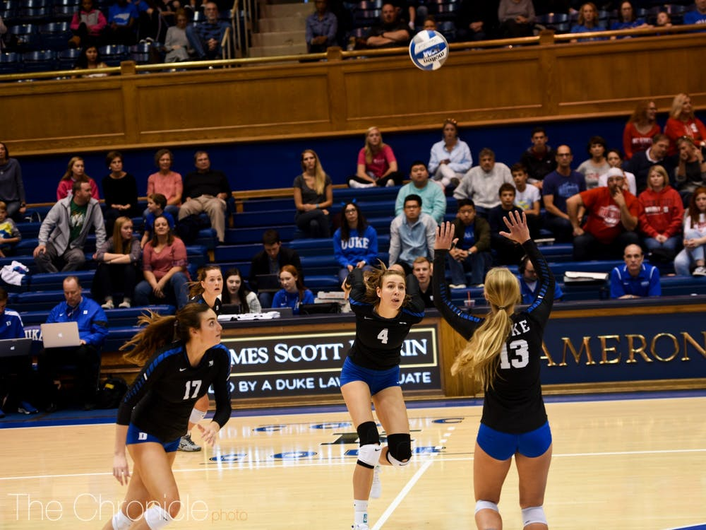Samantha Amos (left) played her last game in Cameron Indoor Stadium Sunday.