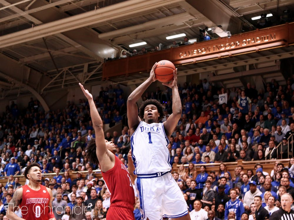 <p>Vernon Carey Jr. recorded 12 points Saturday against Louisville after struggling against a smothering paint defense</p>