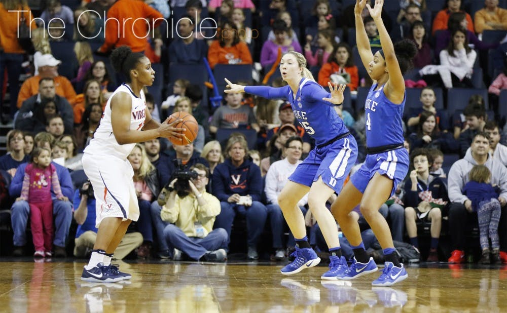 <p>The Blue Devils held the Cavaliers to six points in the third quarter in a third straight rout.</p>