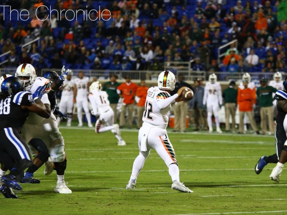 Quarterback Malik Rosier will look to push the ball downfield against Duke's defense.