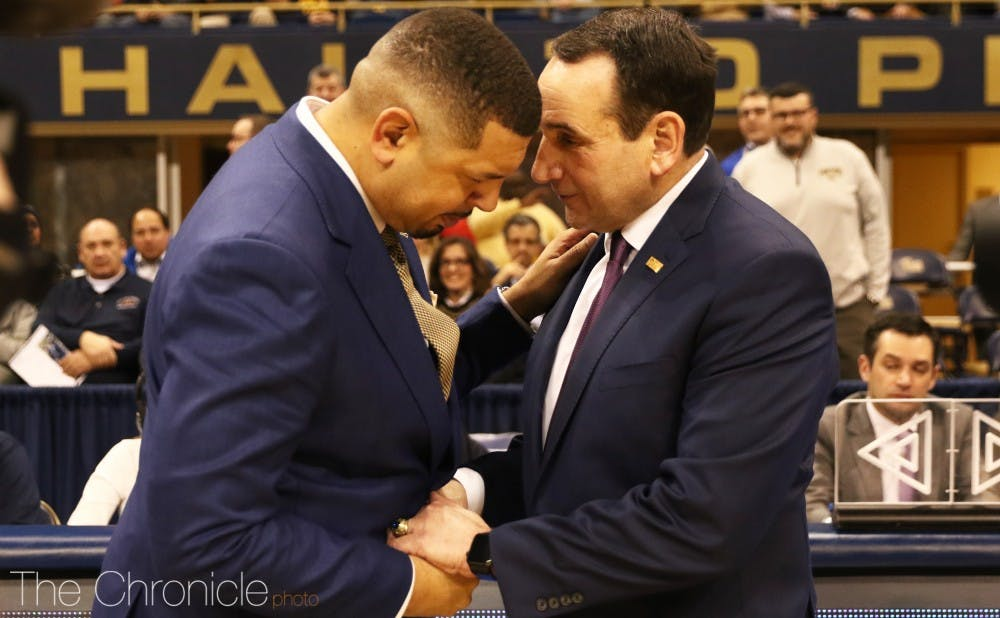 <p>Coach K and his former associate Jeff Capel faced off Tuesday.</p>