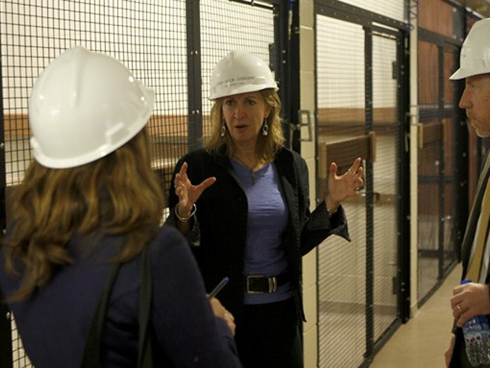 Lemur Center Director Anne Yoder gives a tour in one of the two new facilities that will house lemurs for the upcoming winter. The facilities cost the University $8.2 million and will house 140 lemurs.