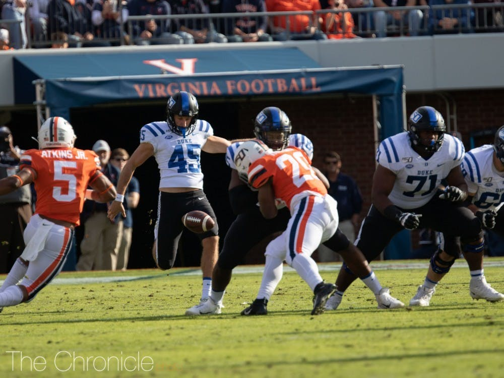Punter Austin Parker seemed to be the only Duke player capable of producing offense Saturday afternoon, converting two fake punts into first downs