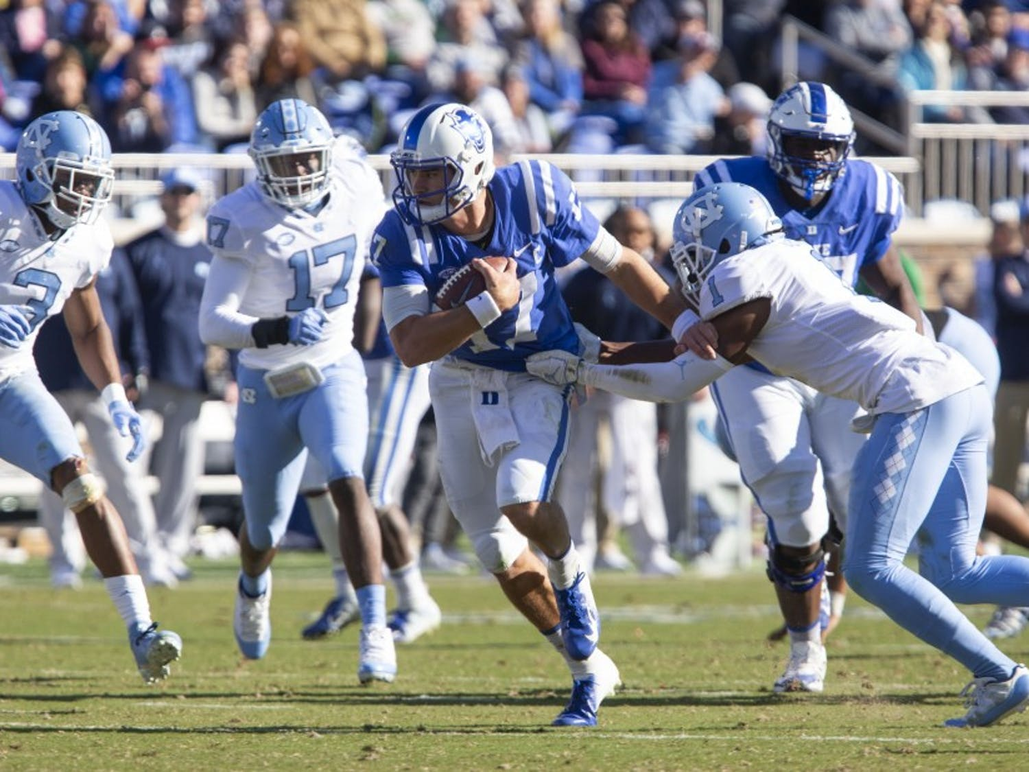 Daniel Jones has impressed with his ability to dominate both in the air and on the ground.