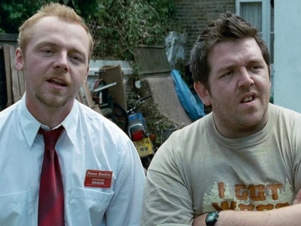 "In ""Shaun of the Dead,"" Shaun (Simon Pegg) and Ed (Nick Frost) find themselves in the middle of a zombie apocalypse."