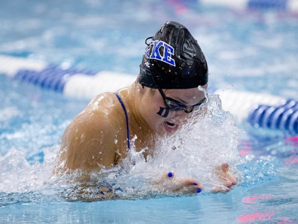 Senior Ashleigh Shanley won the 100-yard breaststroke this weekend, one of several standout for the Blue Devil women as they compiled a 3-0 record.