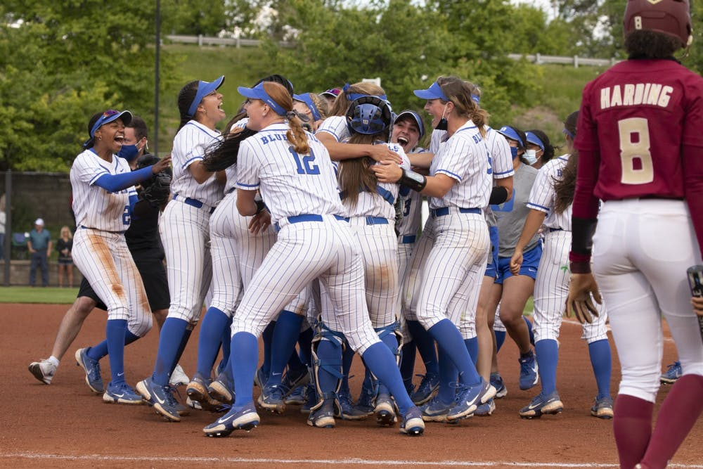 Once the contest ended, the Blue Devils celebrated in the infield, an indication of how much the win meant to the program.