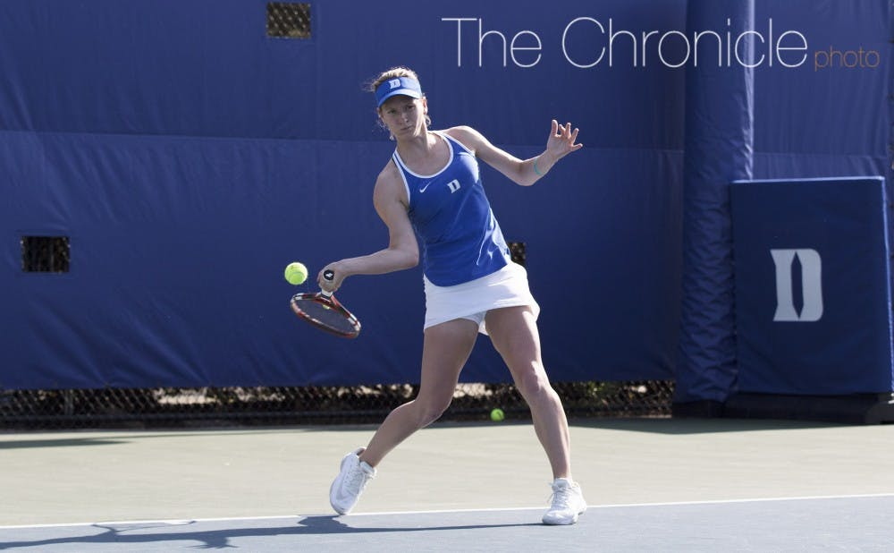 <p>Senior Chalena Scholl has not lost a singles match in ACC play and swung momentum in both matches this weekend with clutch three-set victories.</p>