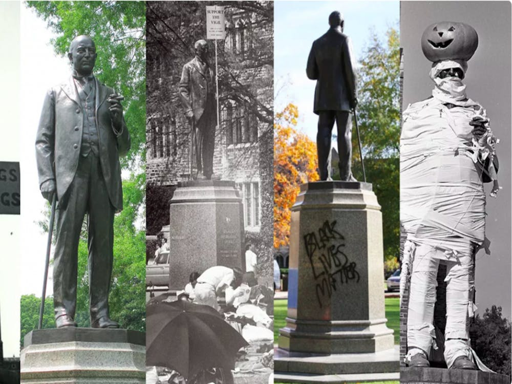 The James B. Duke statue in front of the Chapel — one of the most prominent statues on campus — has been the subject of numerous pranks and protests throughout the years.