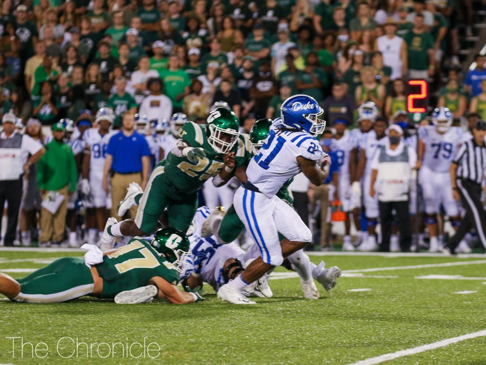 <p>Mataeo Durant rushed for 255 yards in Duke's loss to Charlotte.</p>