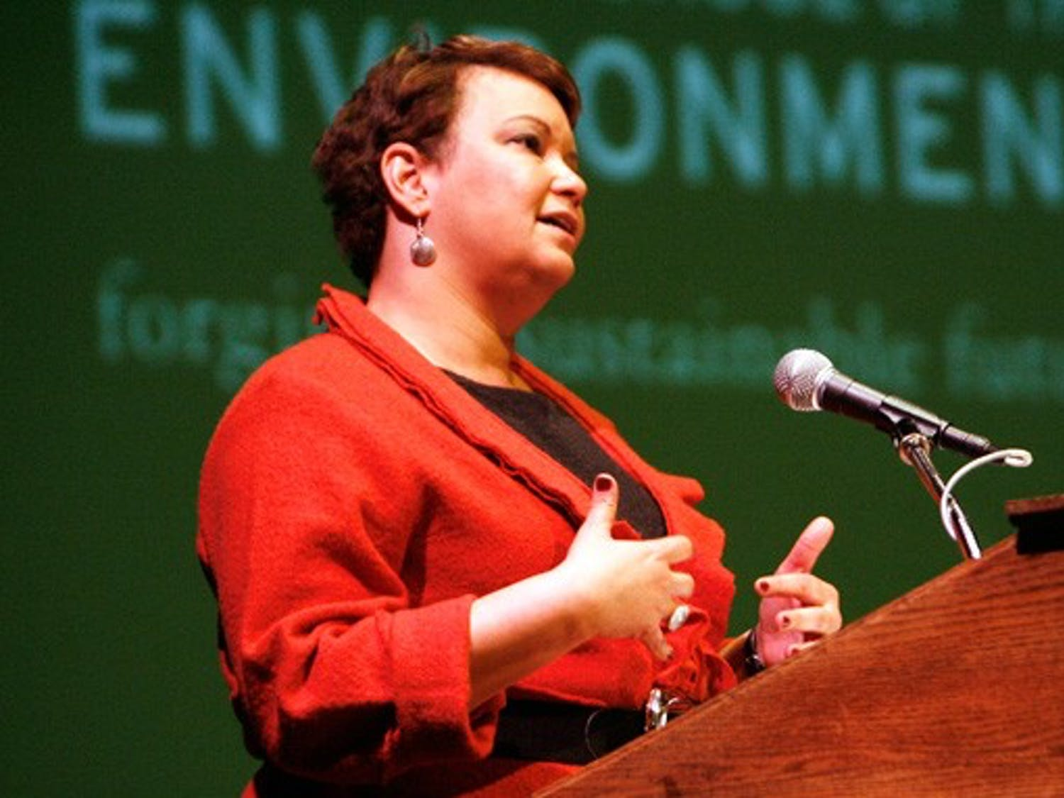 Environmental Protection Agency Administrator Lisa Jackson speaks at Reynolds Industries Theater to a crowd of more than 500 people Tuesday afternoon.