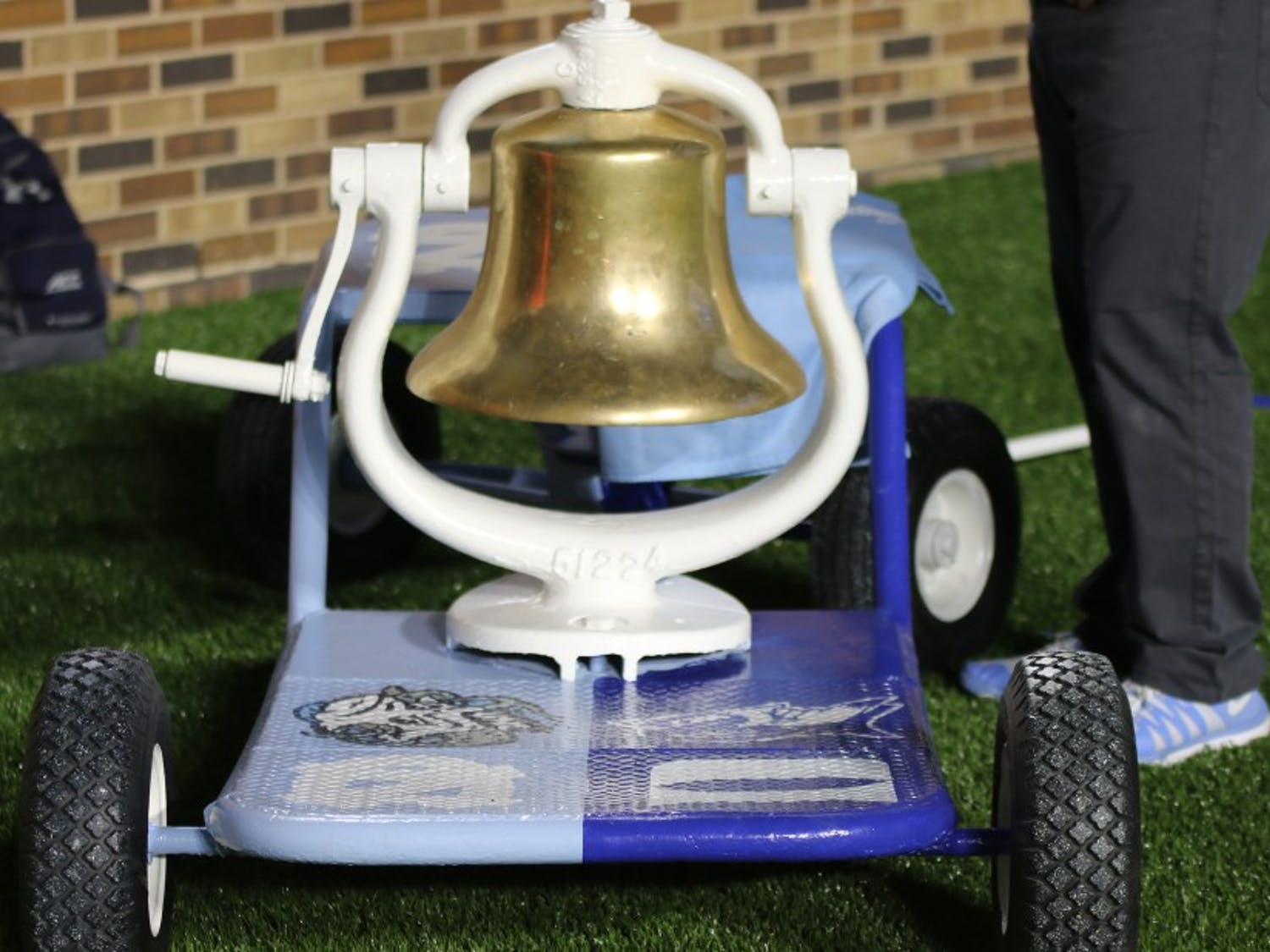 The Victory Bell's platform was split in half before Thursday's game, but North Carolina planned to spray paint it entirely North Carolina blue if the Tar Heels had emerged victorious.