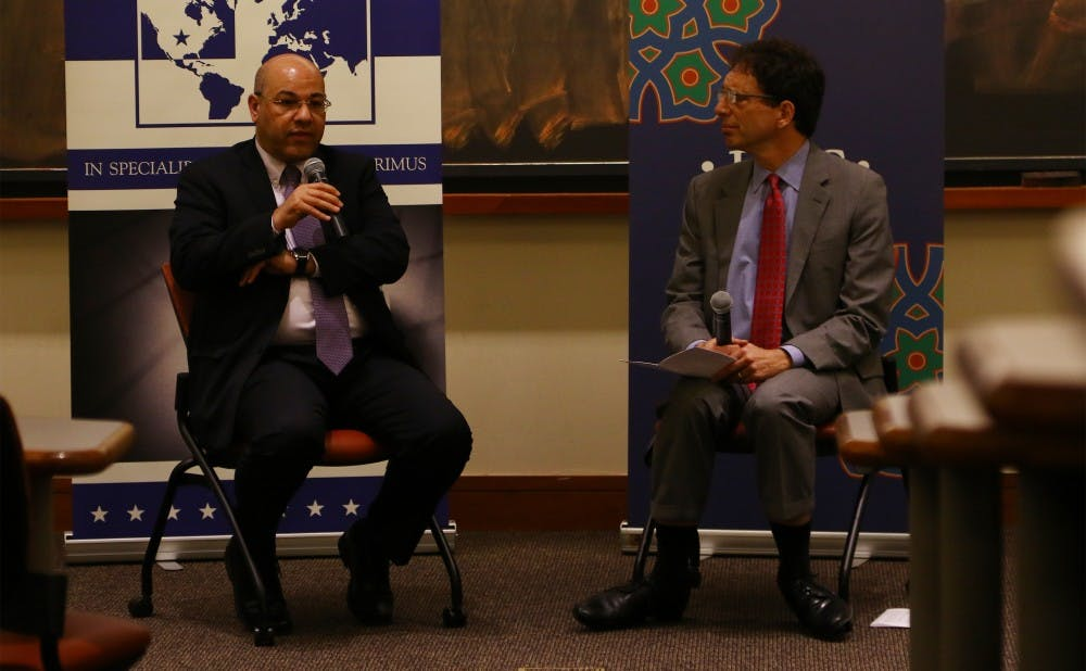 <p>Lukman Faily described ways in which the U.S. could help Iraq overcome its diverse challenges at Thursday's talk.&nbsp;</p>