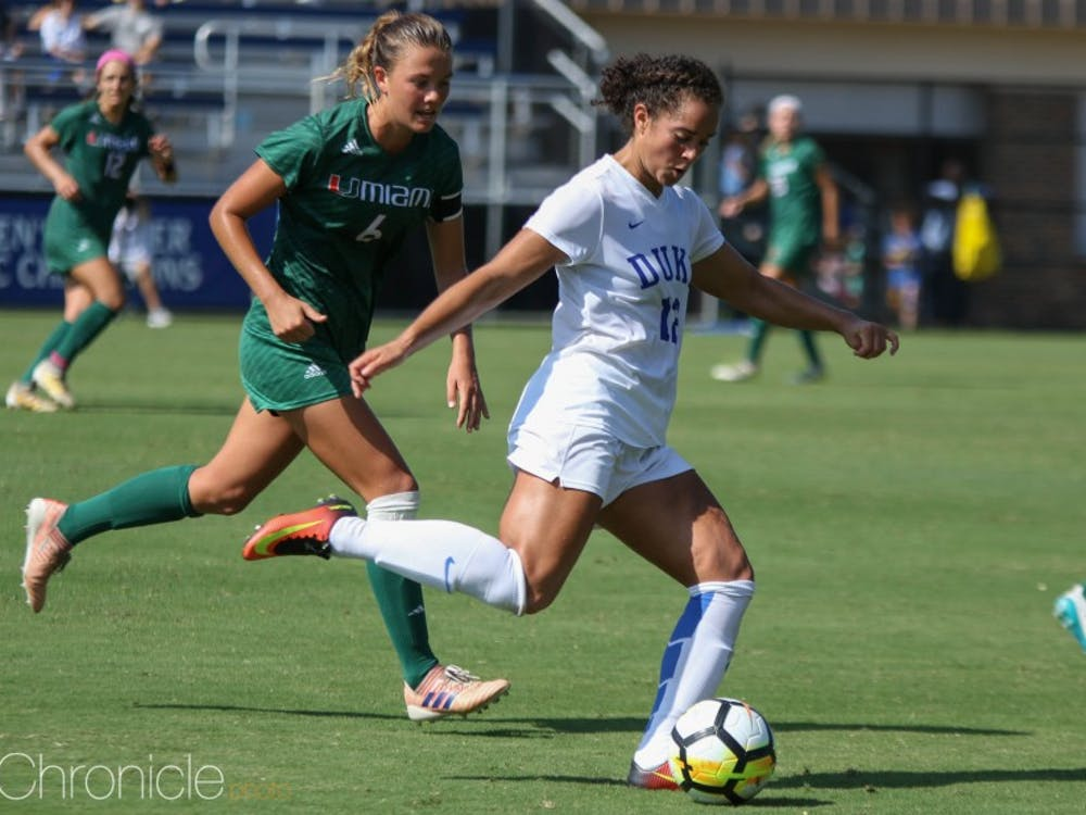 After Duke played a dominant but scoreless first half, Kayla McCoy opened the floodgates with a goal in the 52nd minute.
