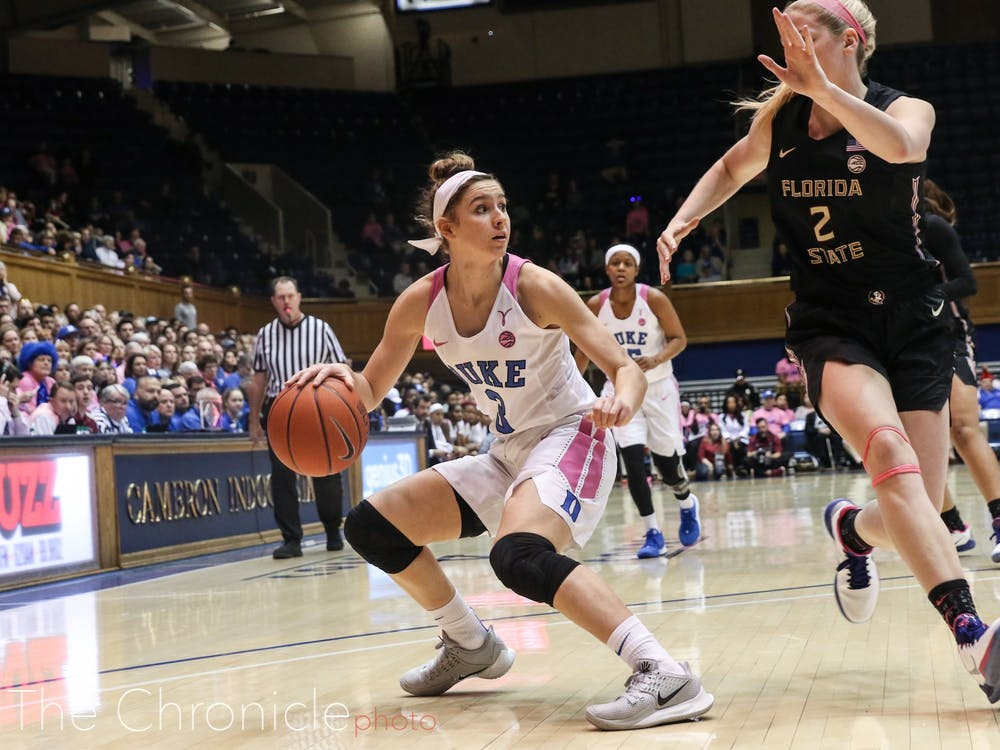 Duke Women's Basketball played strong and hard at today's home game against FSU. The Blue Devils won by a close margin, with a final score of 66-64.