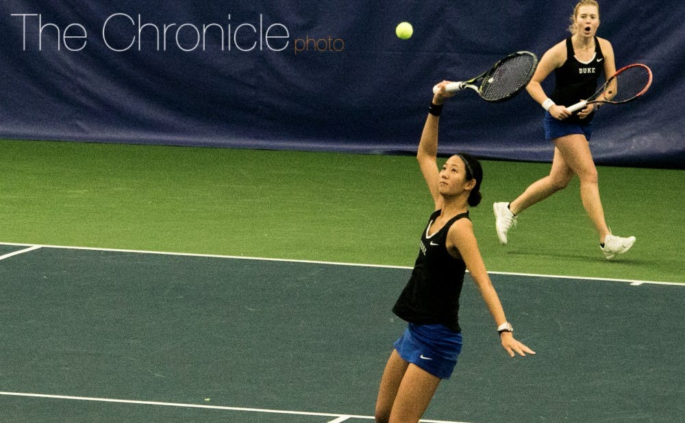 <p>Despite losing the doubles point, the Blue Devils regrouped and overcame a&nbsp;3-1 deficit to earn a hard-fought win.</p>