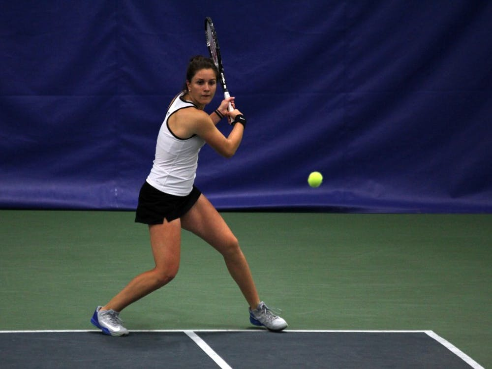 Senior Ester Goldfeld picked up her 100th career singles victory March 22 against Virginia, making her just the 24th Blue Devil to accomplish the feat.