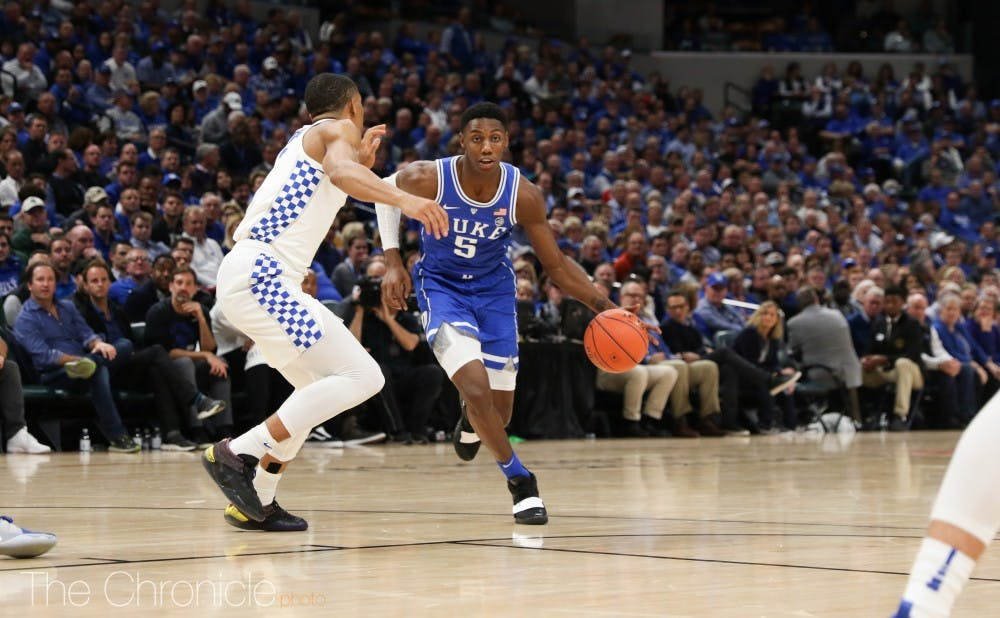 <p>RJ Barrett's 33 points broke the Duke record for most points scored in a freshman's college debut.</p>
