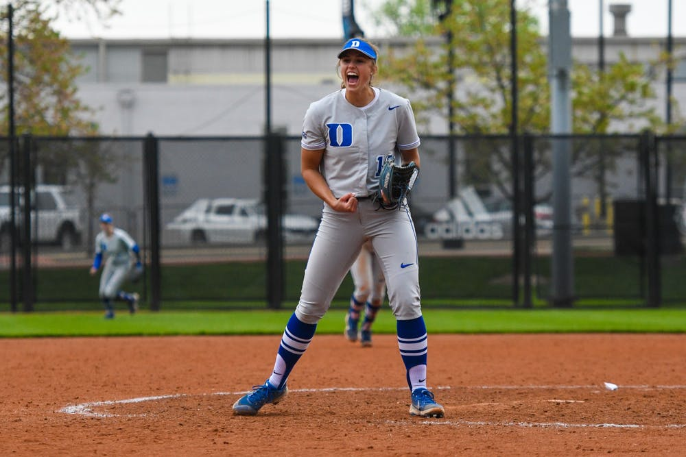 <p>Peyton St. George and the Blue Devils won their first series since their March 19-21 series against Syracuse.</p>