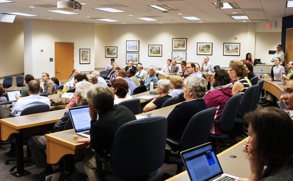 <p>Faculty discussed&nbsp;a motion calling for the Board of Trustees to conduct an independent review of Executive Vice President Tallman Trask at its meeting Thursday.&nbsp;</p>