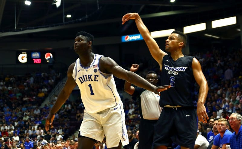 Zion Williamson was in control throughout Sunday's rout, contributing 36 points and 14 boards in the final contest of Duke's Canada tour.