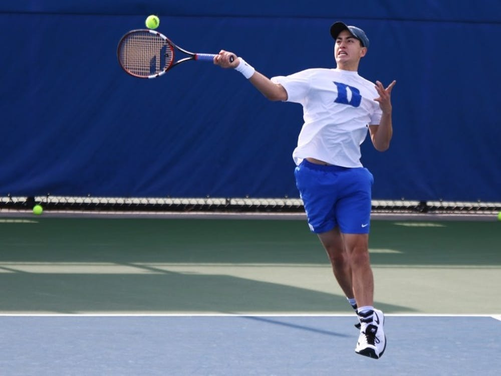 Nicolas Alvarez clinched the victory for the Blue Devils on court one Friday afternoon, beating a ranked opponent for the first time since Feb. 5.
