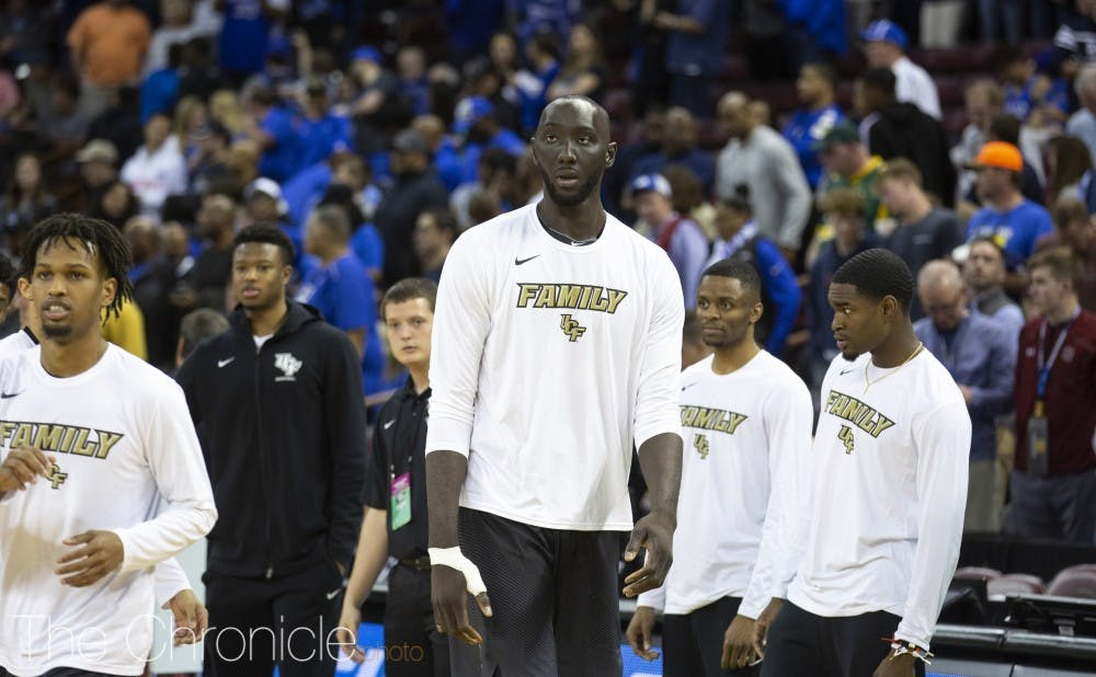 Senior center Tacko Fall, a native of Dakar, Senegal, mans the middle for Central Florida and ranks 11th in the nation in blocks per game.