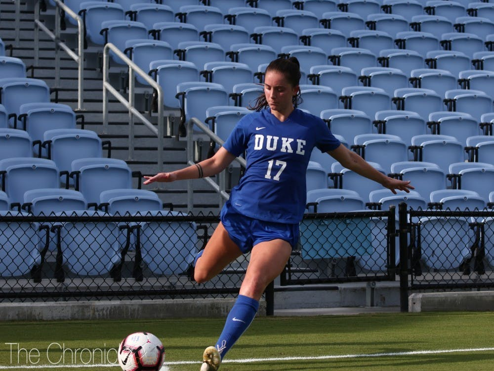 Duke's only senior starter, Ella Stevens added an assist Thursday.