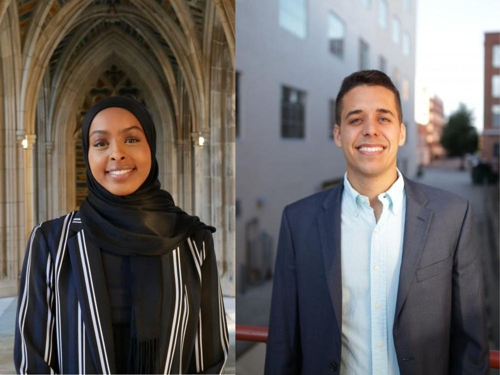 <p>Senior Doha Ali (left) was chosen by a nominating committee and President Vincent Price as the next undergraduate Young Trustee, and third-year law student Gerardo Párraga (right) was chosen as graduate Young Trustee.</p>