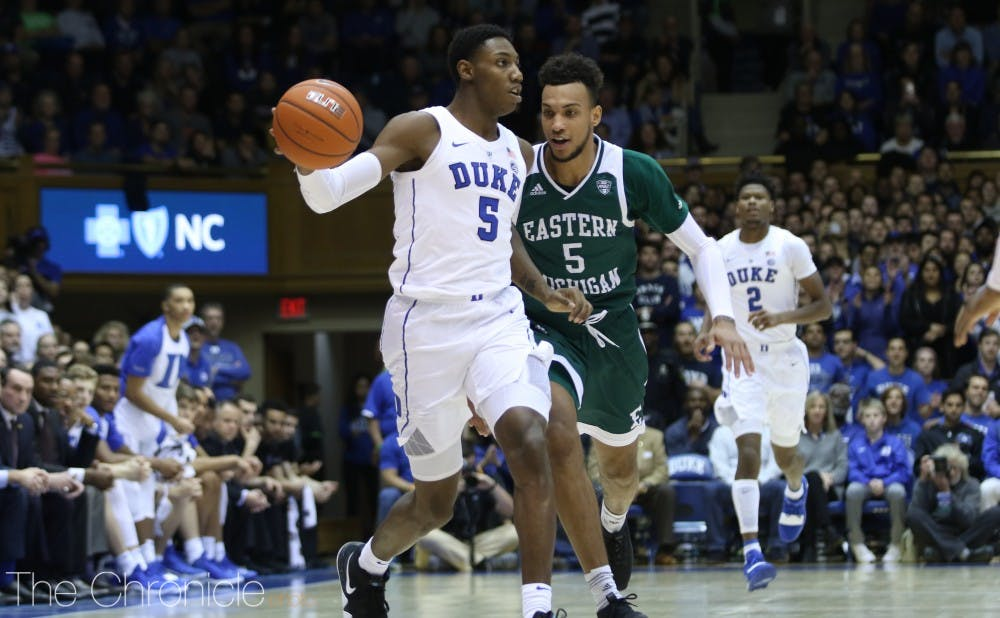 <p>R.J. Barrett and the Blue Devils remain the team to beat in college basketball.</p>