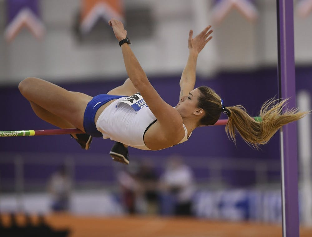 <p>Senior Erin Marsh finished her regular season out with a victory in the long jump in the Duke Twilight.</p>