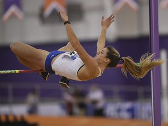 Senior Erin Marsh finished her regular season out with a victory in the long jump in the Duke Twilight.