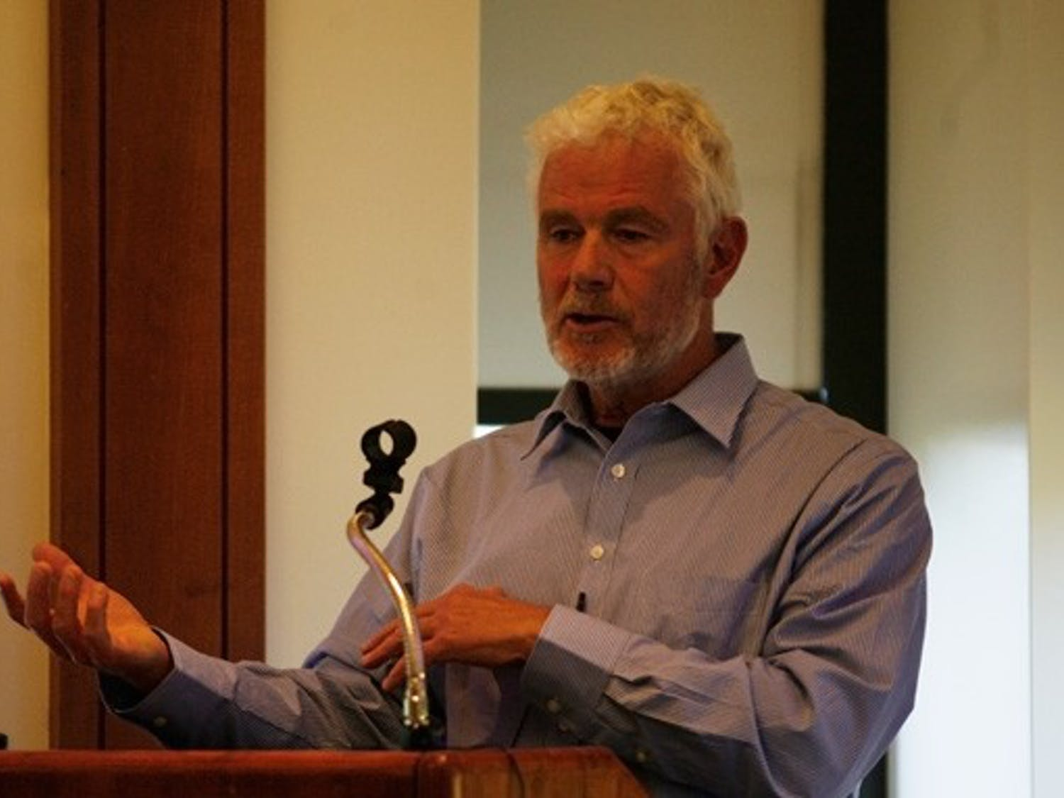 Edward Girardet, a journalist with extensive experience in Afghanistan, speaks Wednesday.