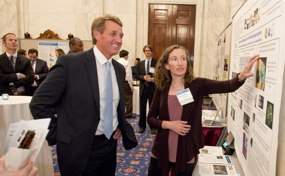 <p>Sheila Patek (right) presented her research in Washington after being featured in U.S. Sen. Jeff Flake's Wastebook, which criticizes&nbsp;unnecessary&nbsp;government spending.</p>