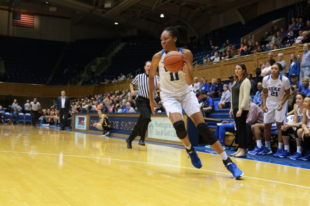 <p>Sophomore Azurá Stevens scored seven of her team-high 15 points in the decisive fourth quarter as Duke clawed its way back for a 57-50 win at Pennsylvania Friday night.</p>