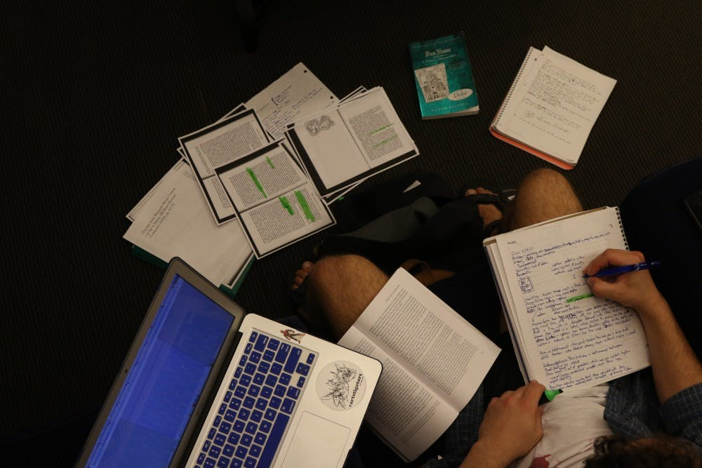 <p>First-year Amory Williams' work space was the epitome of a study sprawl Tuesday night.</p>
