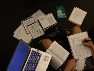First-year Amory Williams' work space was the epitome of a study sprawl Tuesday night.