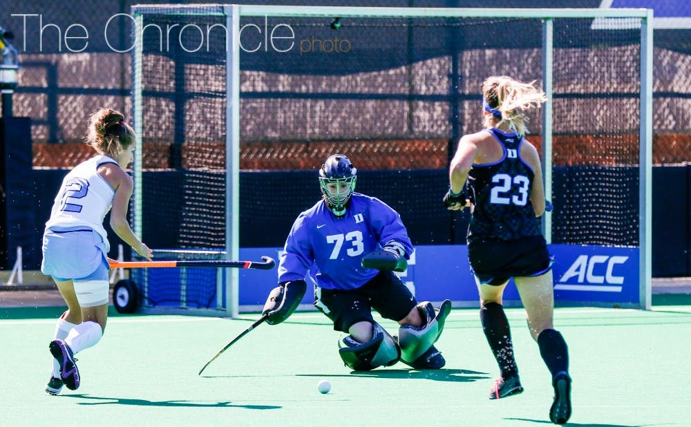 <p>Redshirt freshman Sammi Steele recorded&nbsp;Duke's fourth shoutout of the year with a solid performance between the pipes.&nbsp;</p>