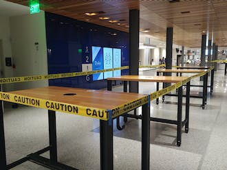Some of the many tables now closed to students to curb the spread of COVID-19 on campus.