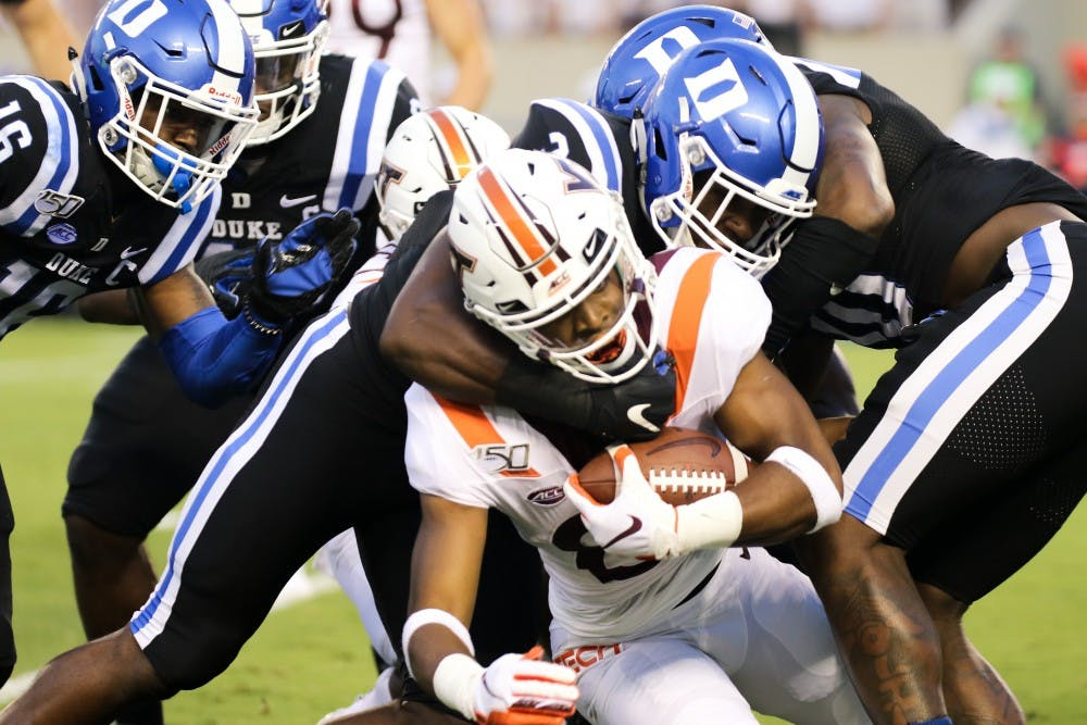 <p>Duke's dominant defense completely smothered Virginia Tech's attempts on the ground and through the air.</p>