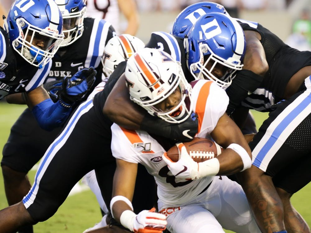 Duke's dominant defense completely smothered Virginia Tech's attempts on the ground and through the air.