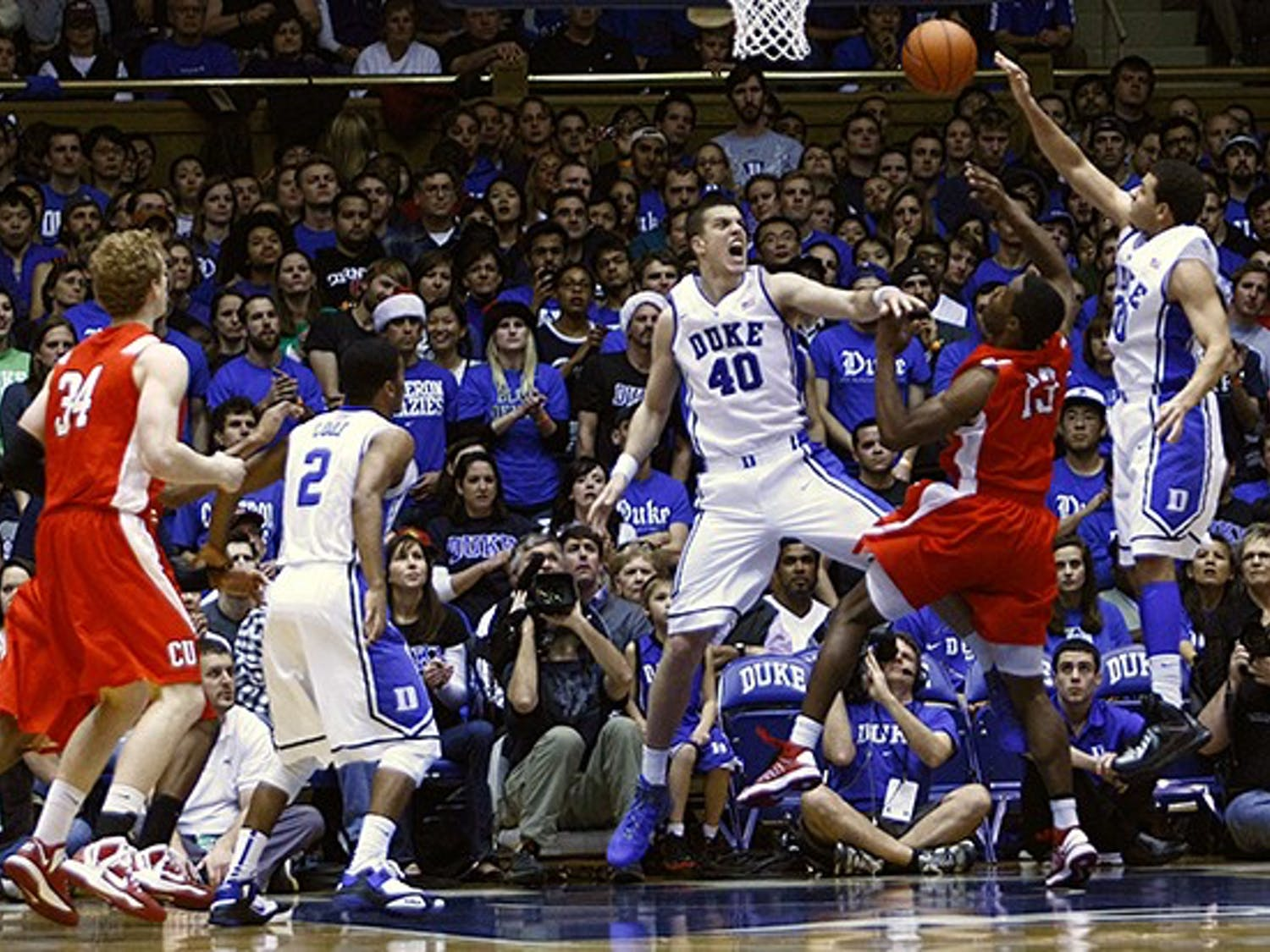 Marshall Plumlee made his Duke debut against Cornell and recorded a rebound and a block, but was limited after suffering a foot sprain.