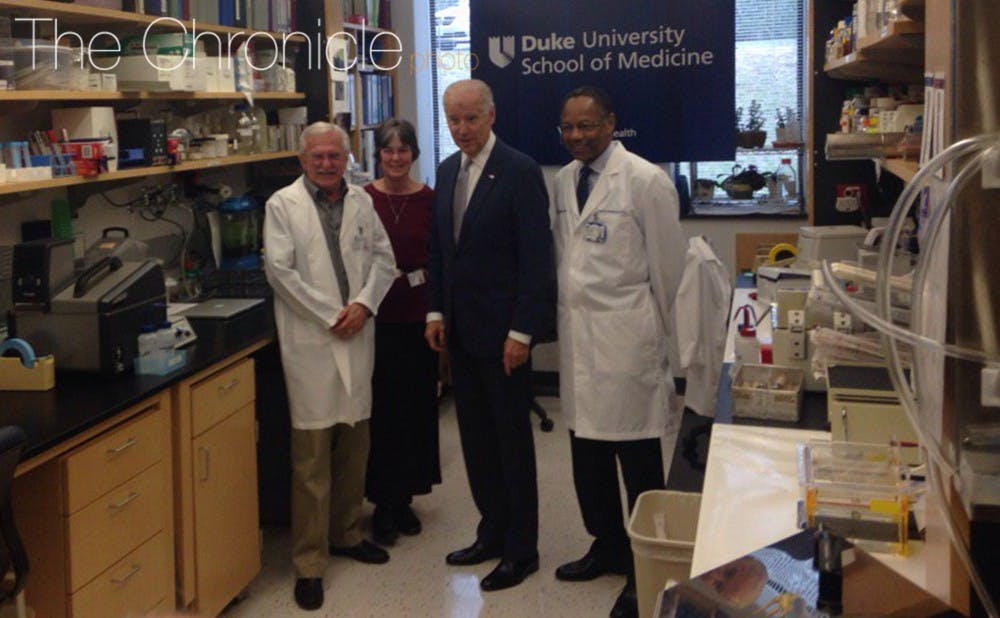 <p>Before Wednesday's round table discussion, Biden chatted with Modrich, Modrich's wife Vickers Burdett and Chancellor for Health Affairs Dr. A. Eugene Washington.</p>
