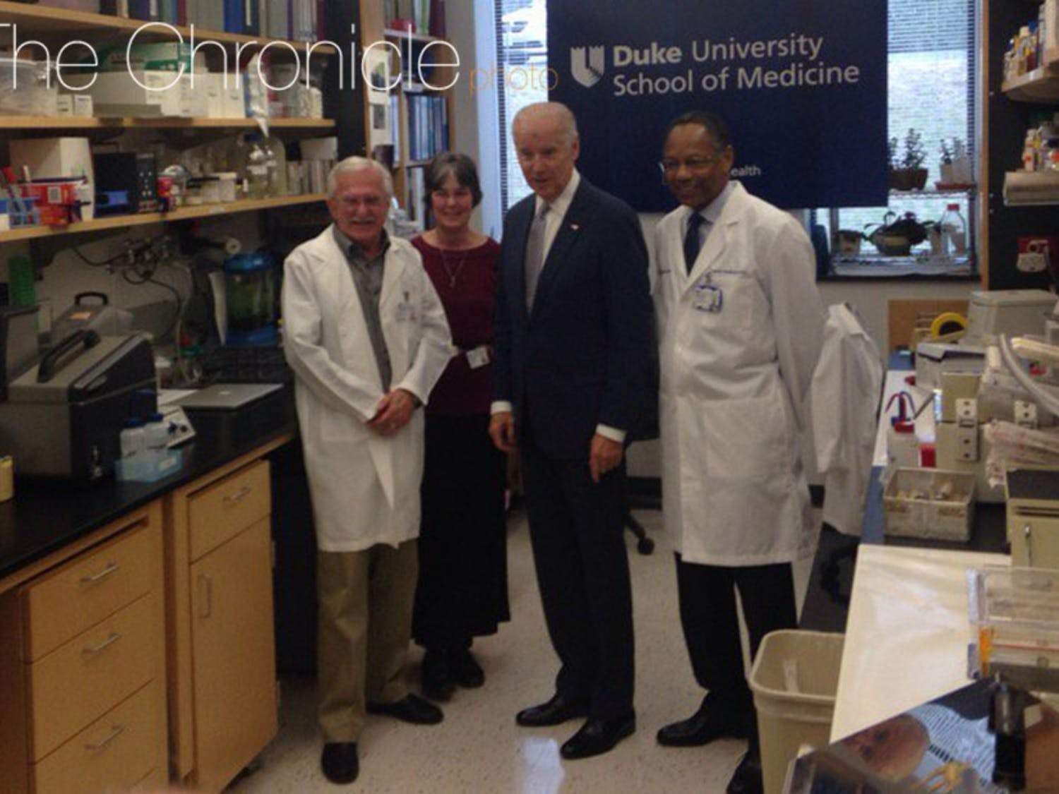 Before Wednesday's round table discussion, Biden chatted with Modrich, Modrich's wife Vickers Burdett and Chancellor for Health Affairs Dr. A. Eugene Washington.