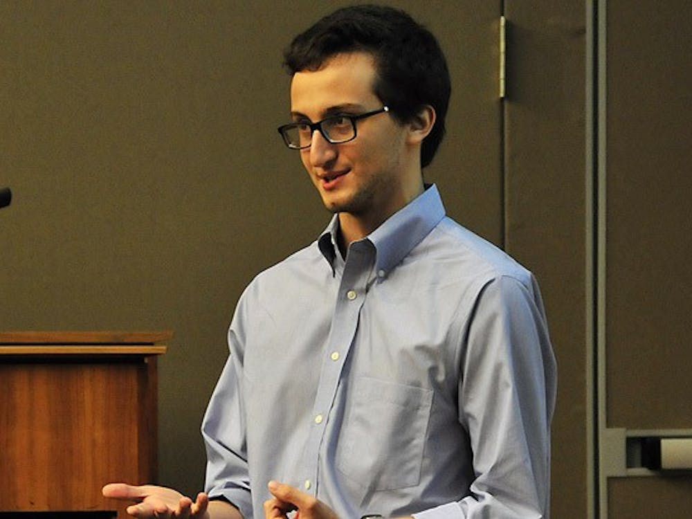 Sophomore Jacob Zionce, DSG vice president for residential life,  spoke about gender-neutral housing at the group's meeting Wednesday.