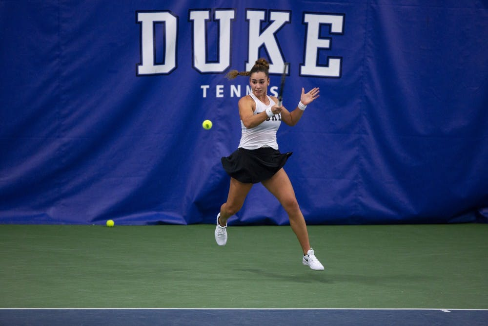 <p>Maria Mateas has looked strong at the top singles spot.</p>